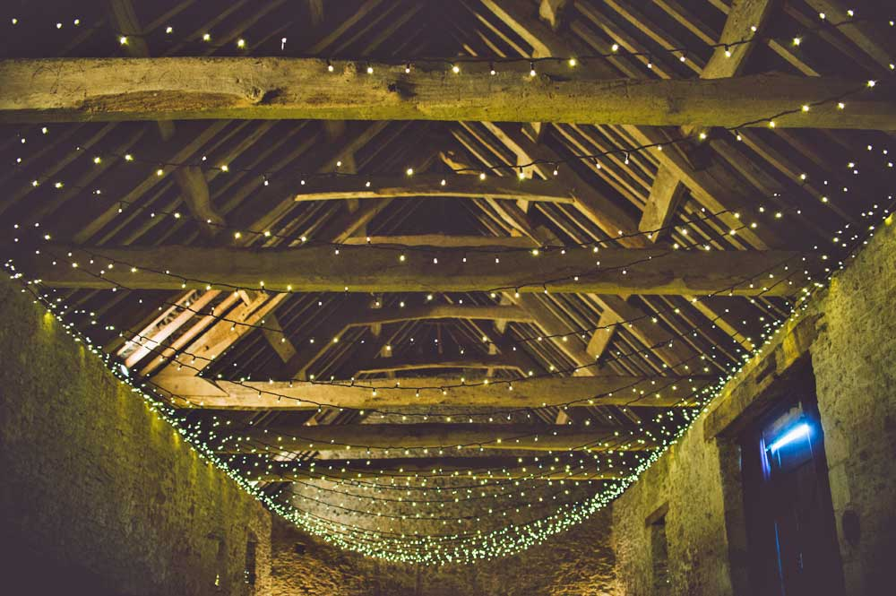 This is a 14th Century privately owned Somerset long barn. We added the sparkly canopy.