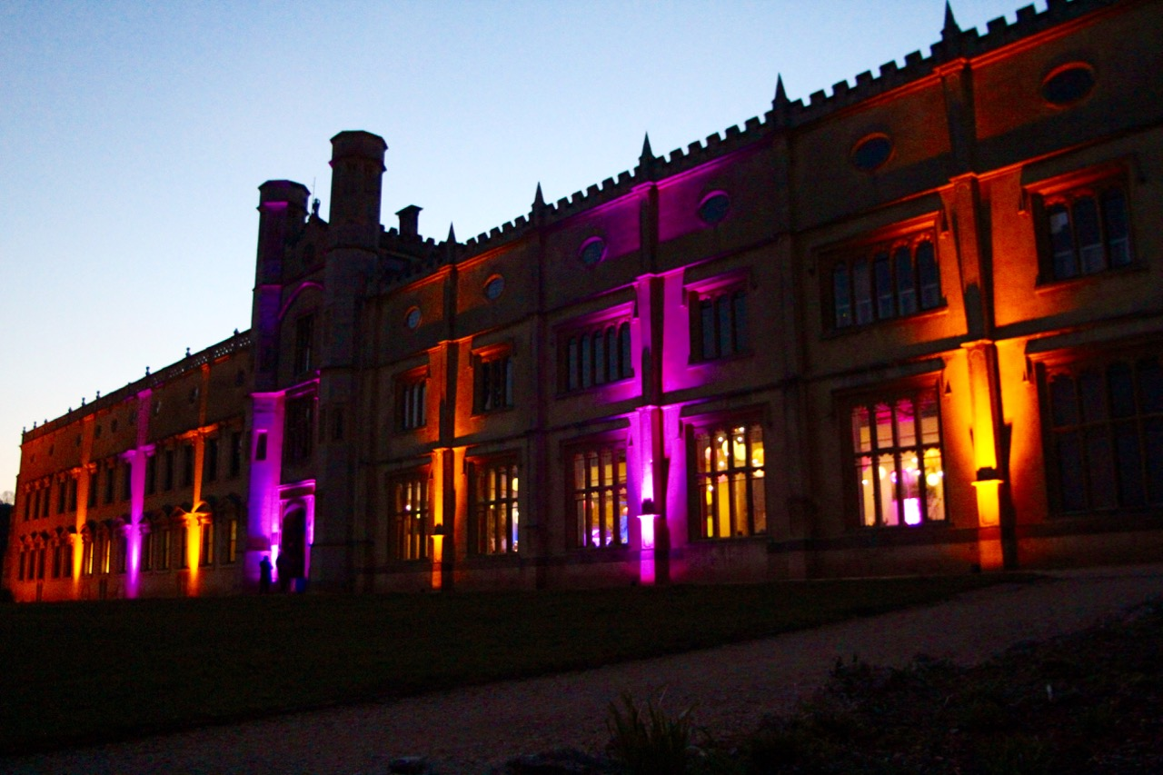 Ashton Court Mansion with exterior LED lighting