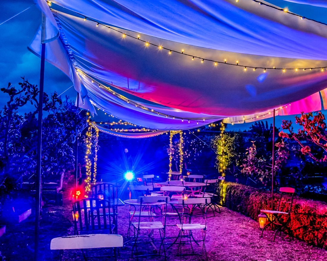 Canvas and Fairy Light Canopy Night