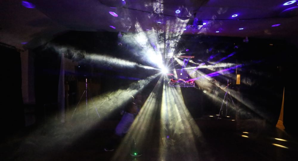 Dance-floor lighting with optional smoke machine.