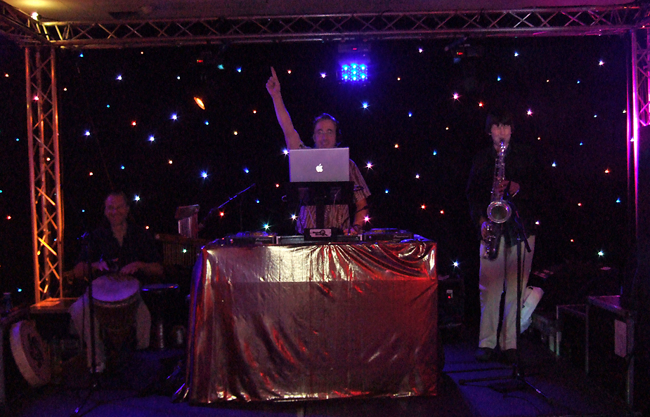 The Festival Trio consists of DJ, Sax and Bongos and are perfect for parties, weddings, festivals and events.