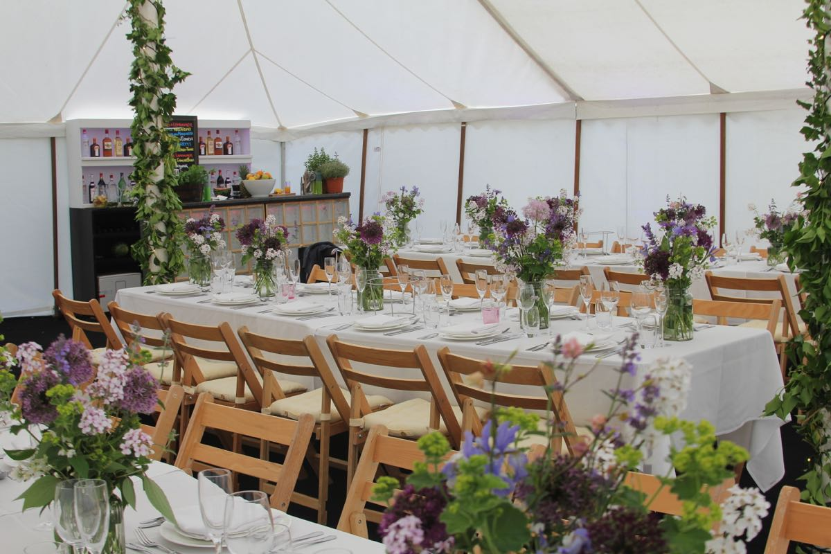 Image of a white traditional marquee interior