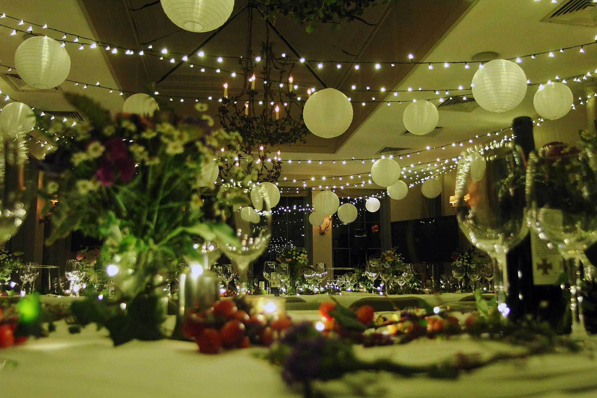 Image of a fairy light canopy installed for a party at Babington House in Somerset.