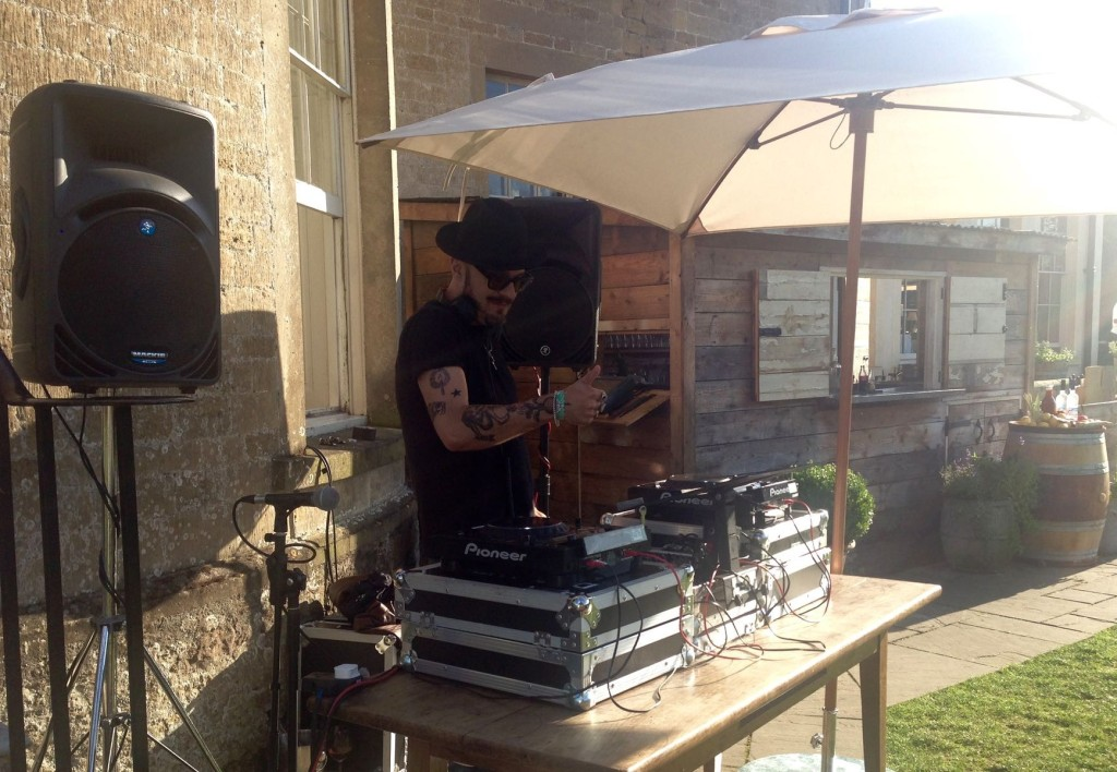 Image of DJ decks outside on a lovely summers day