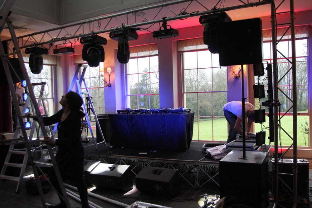 Image of rigging stage and lighting in the Orangery at Babington House.