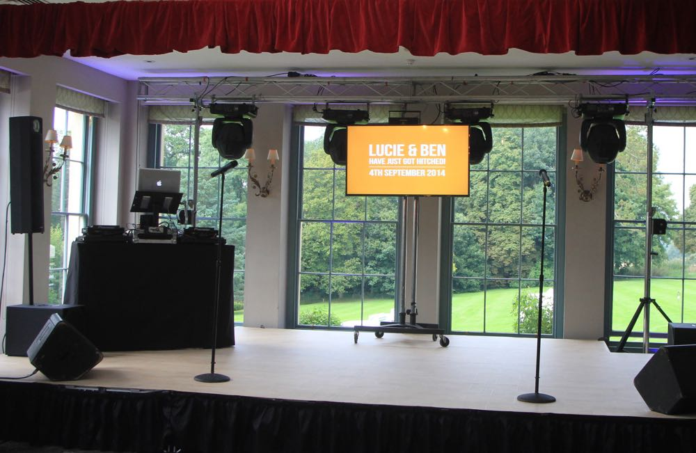 Image of a stage with large plasma TV on a stand.