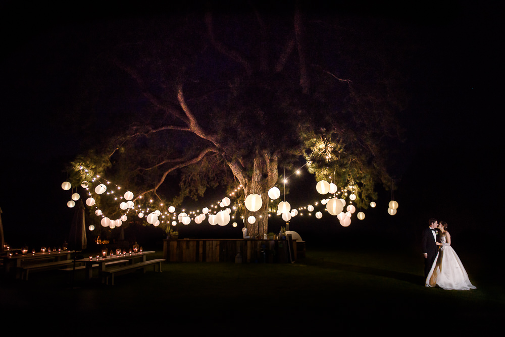 Image of a bride and groom at night standing under a large pine tree with festoon lighting and whites shades.