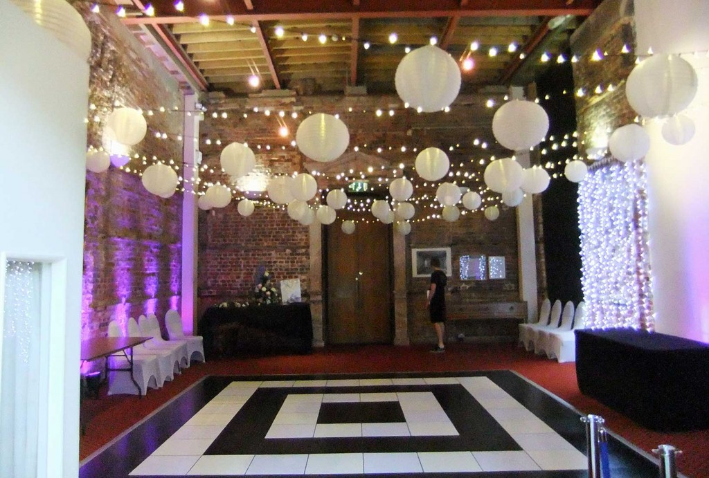 Image of Highcliffe Castle in Dorset with additional dance-floor, mood lighting, lighting canopy with shades and light curtains.