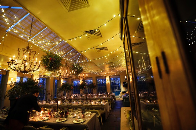 fairy-light wedding canopy