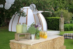 A beautiful garden with chill out dome, lighting and beautiful drinks ready for a drinks reception.