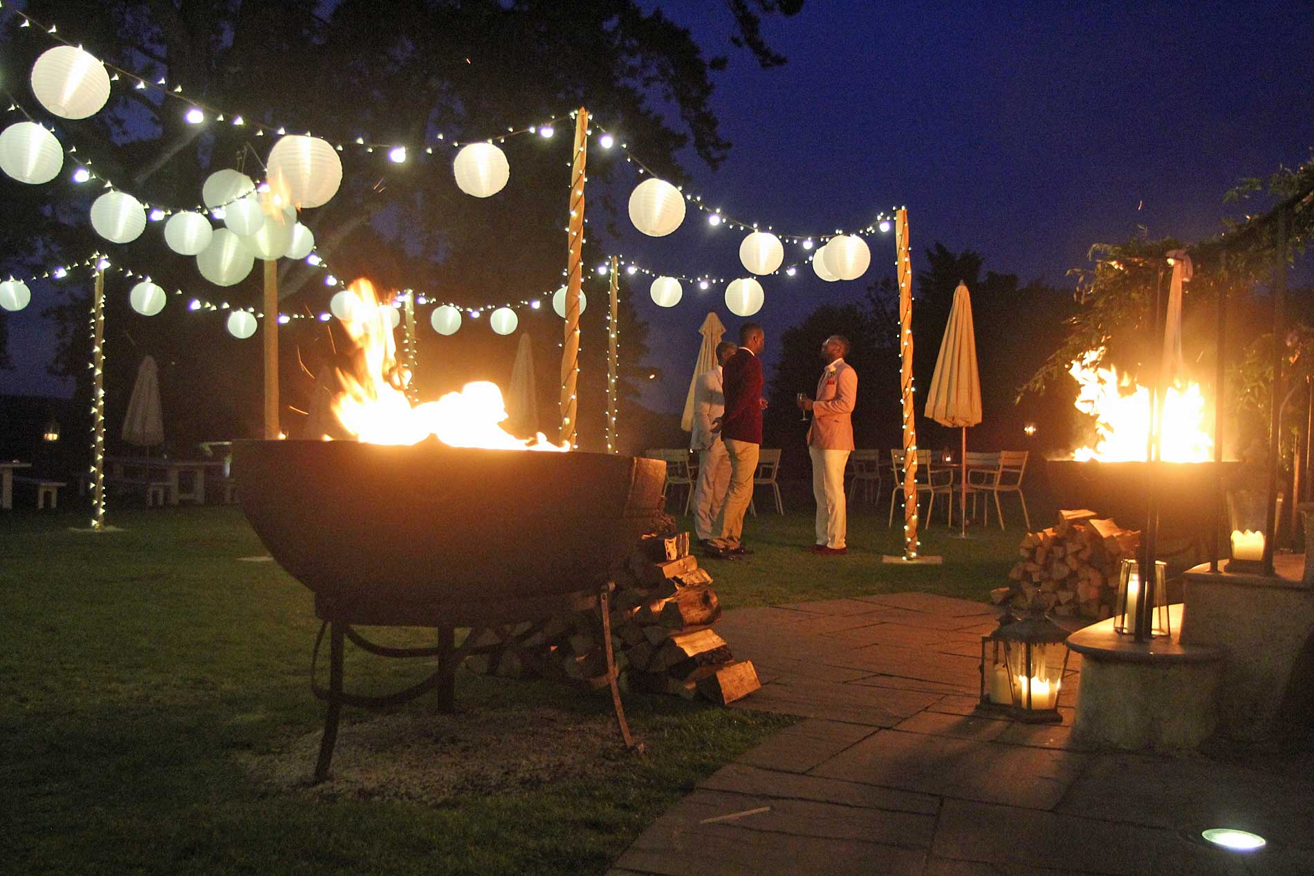 image of a lighting canopy with festoon lighting fairy-lighting with fire-pits & Outdoor Canopy Lighting