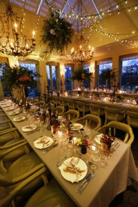 Image of a contemporary dining room with wedding lighting