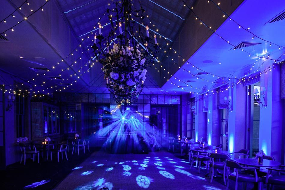 Image of the Orangery at Babington House set for a party