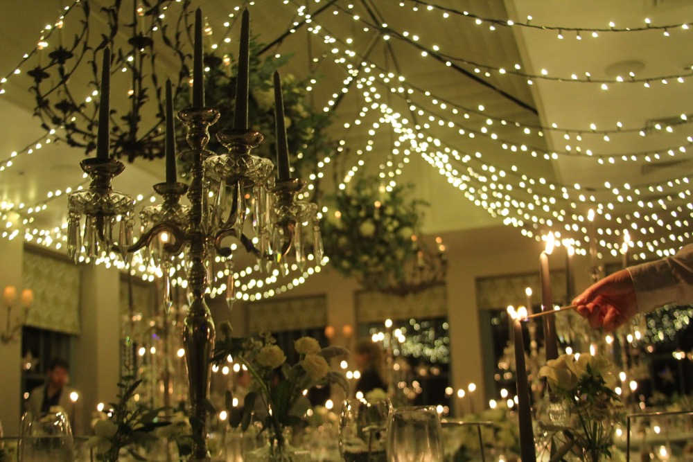 Fairy-light canopy for a wedding.