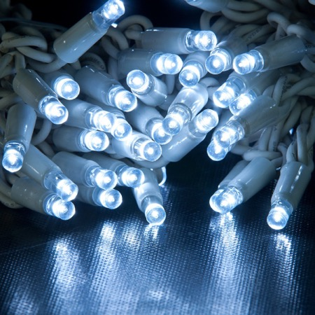 White Cabled Fairy Lights With White LED Bulbs