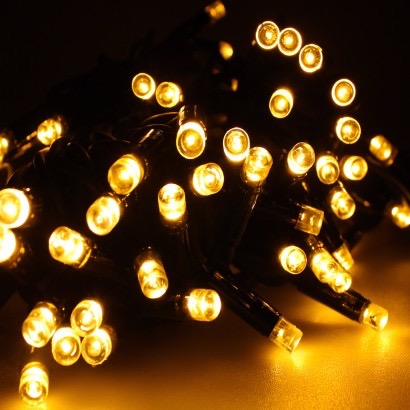 Warm White Fairy Lights with Black Cable