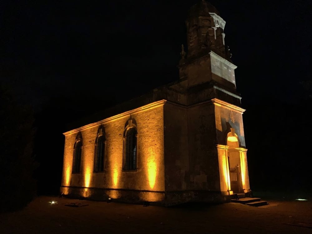 Church lit with Amber LED