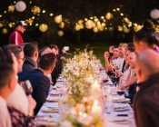 Outdoor dining with tree lighting